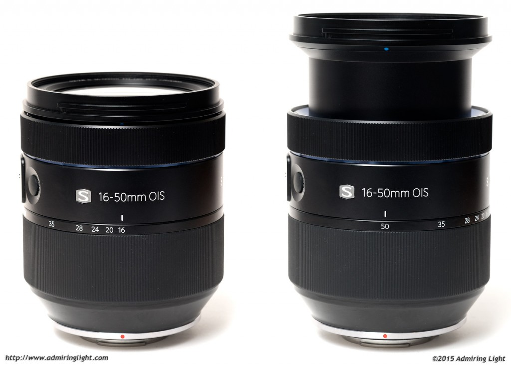 The lens extends towards the longer focal lengths