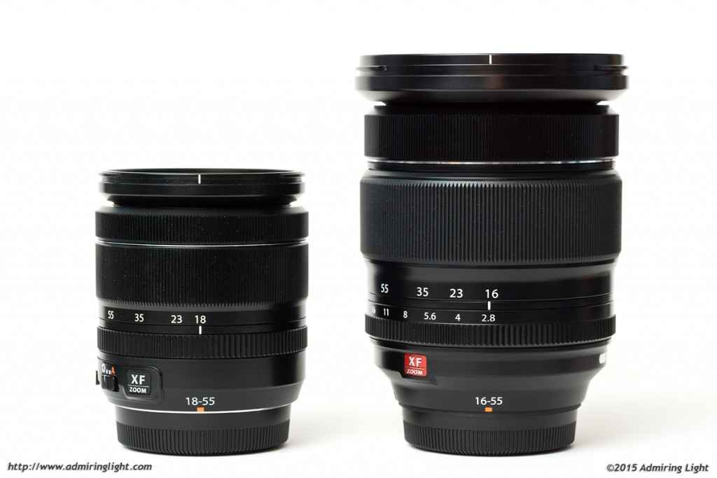 The Fuji 18-55mm (left) vs. the Fuji 16-55mm (right)
