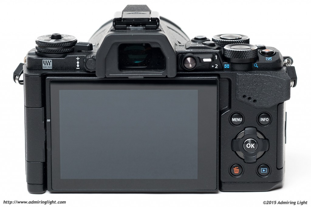 The rear controls and screen of the E-M5 Mark II