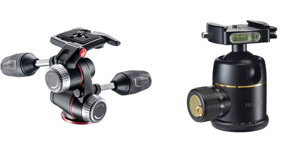 A Pan/Tilt head (Manfrotto MHXPro, left) and a Ball Head (Photo Clam Pro Gold II, right)