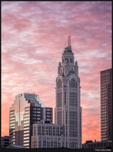 LeVeque Tower at Sunrise - 64MP RAW in HR Mode - Olympus OM-D E-M5 Mark II with Olympus 75-300mm @ 75mm, f/6.3, 1/25s, ISO 200 (click to enlarge)