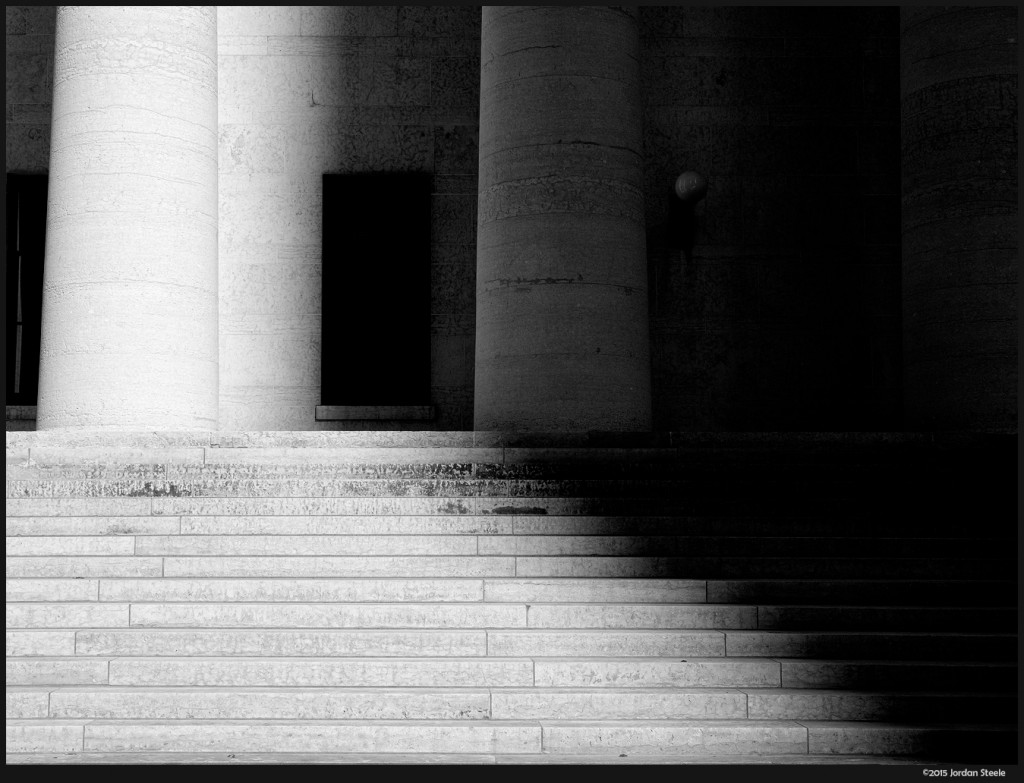Statehouse Stairs - Olympus OM-D E-M5 Mark II with Olympus 12-40mm f/2.8 PRO @ 26mm, f/5.6, 1/1250s, ISO 200 (shadows intentionally darkened)