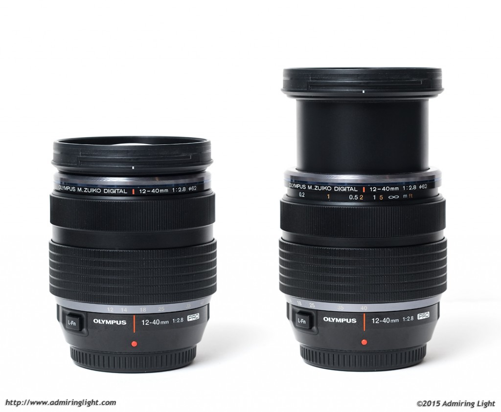 The lens at its shortest length (left) and longest (right).  The manual focus clutch is also pulled back to reveal the focus scale in the right hand image.