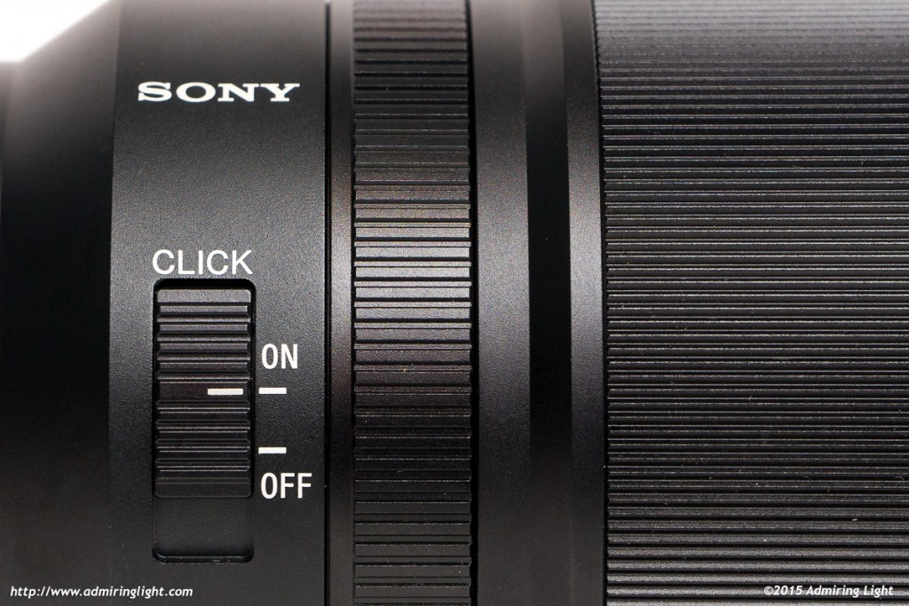 The aperture ring can be 'de-clicked' for silent aperture adjustment during video