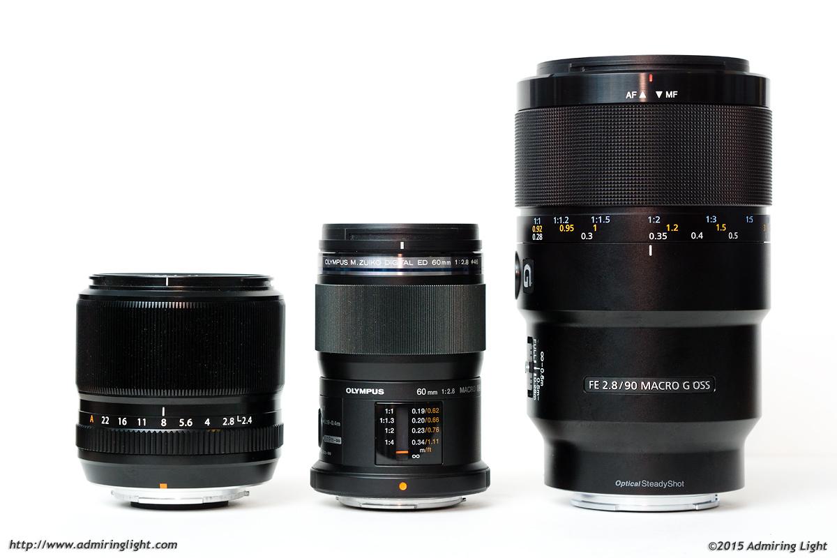 The competitors: Fuji 60mm f/2.4, Olympus 60mm f/2.8, Sony 90mm f/2.8