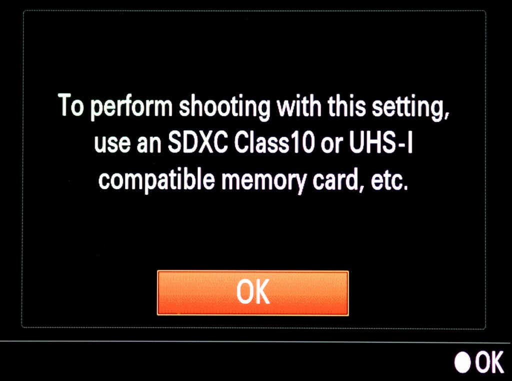 You must have a 64GB or larger UHS-I card to record 4K video
