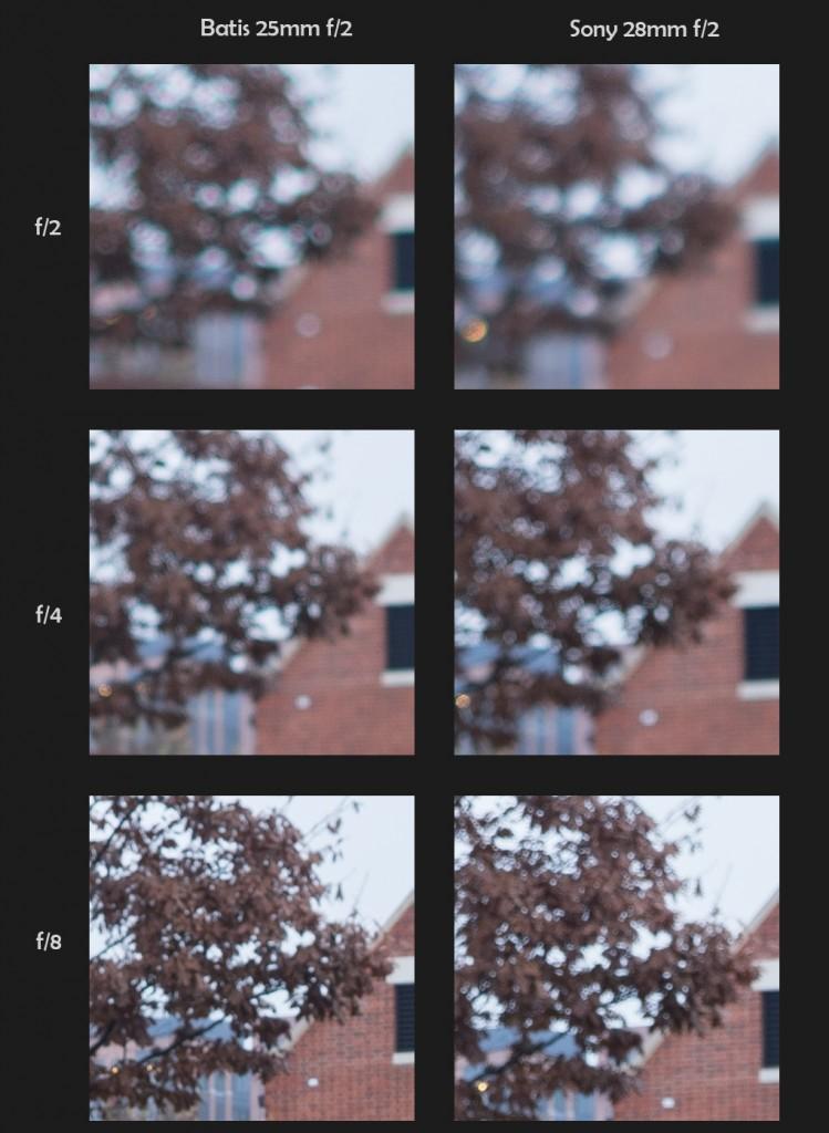 100% Bokeh Crops - Zeiss Batis 25mm f/2 vs. Sony FE 28mm f/2 - Click to Open Full Size