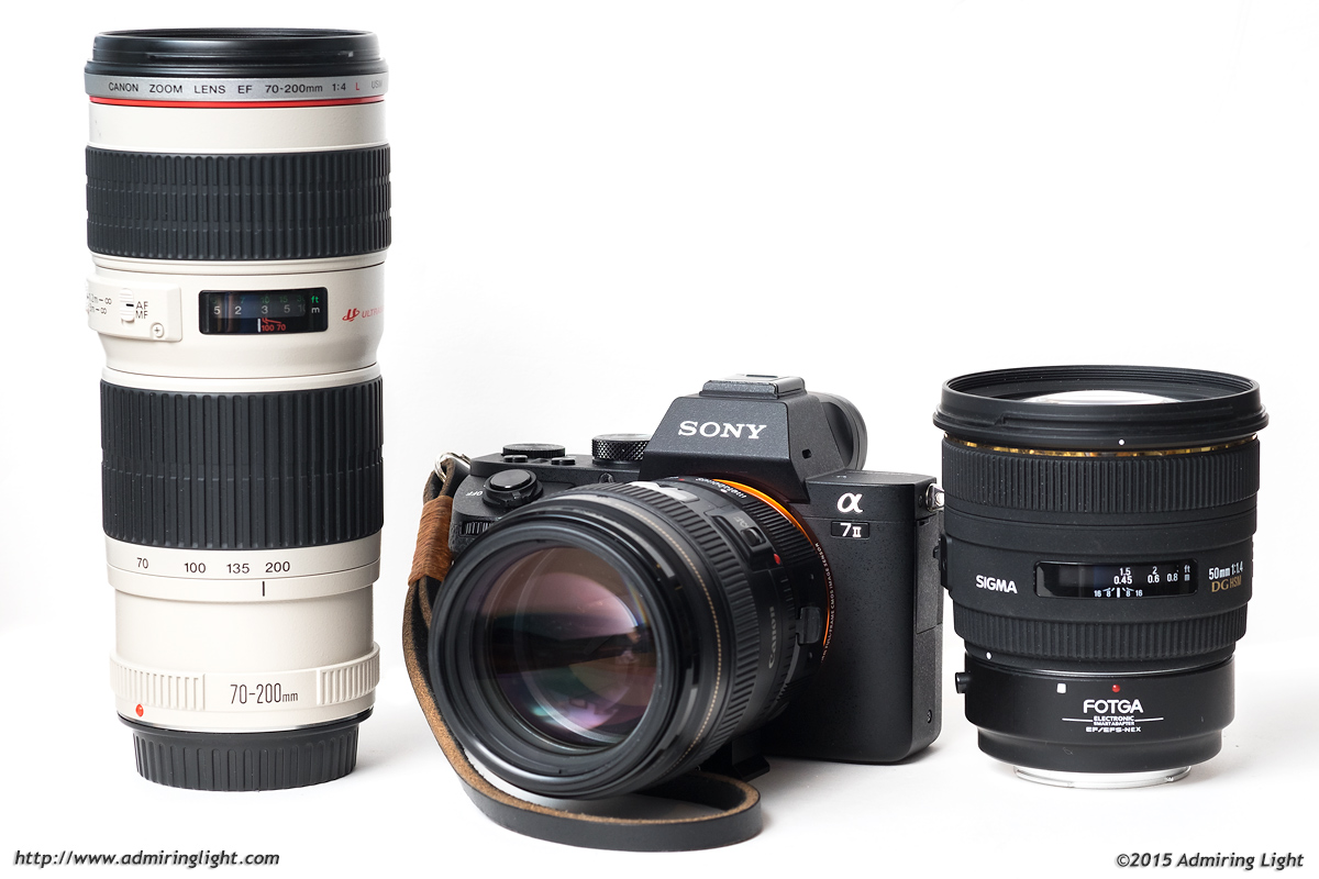 Canon 70-200mm f/4L, Sony A7 II with Canon 100mm f/2, Sigma 50mm f/1.4 EX