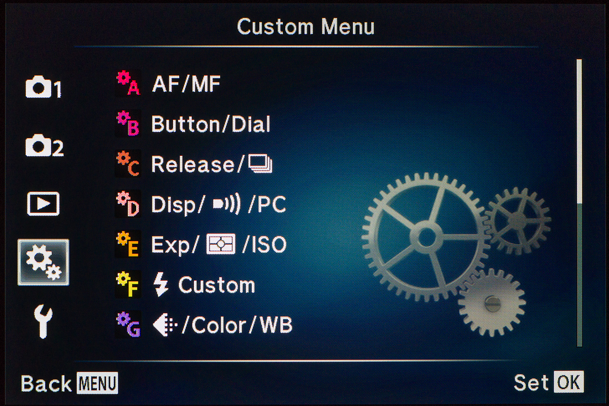 The Olympus menu system is complicated but powerful