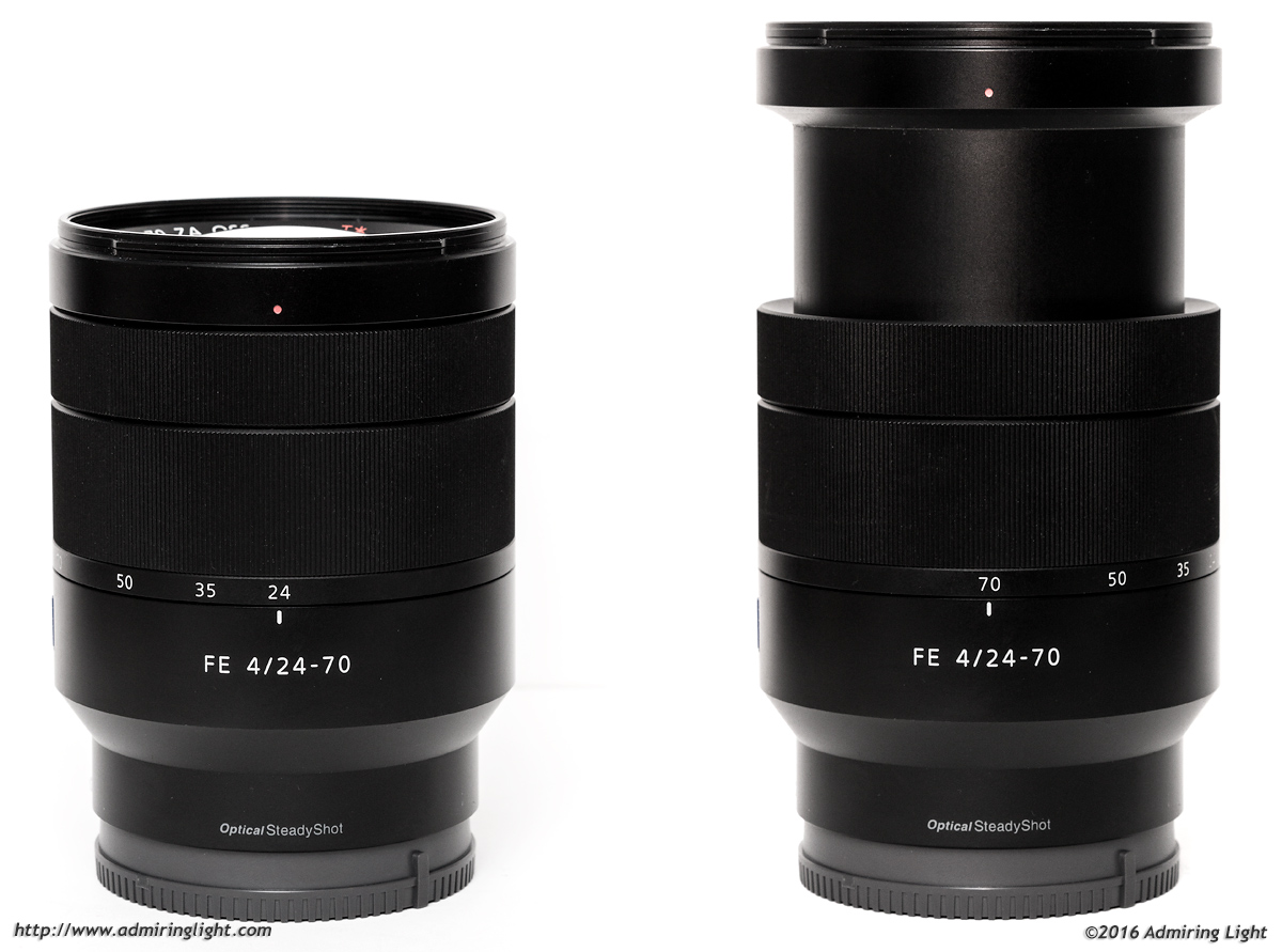 The Zeiss 24-70mm f/4 at 24mm (left) and 70mm (right)