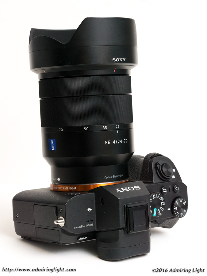 The Zeiss 24-70mm f/4 with its included lens hood