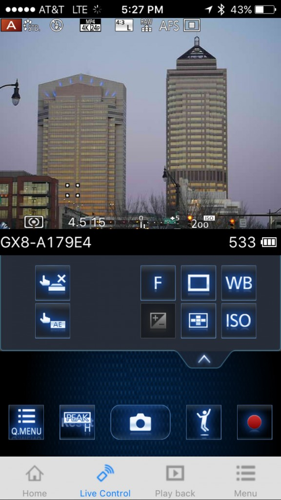The GX8's remote control capabilities are very full featured.
