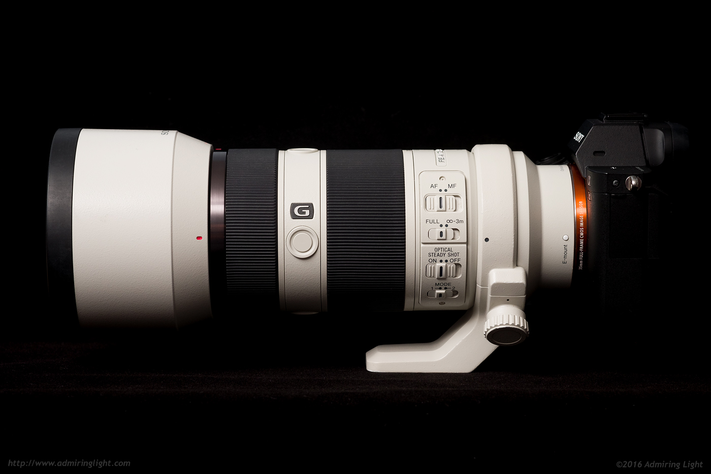 The FE 70-200mm f/4 has a plethora of control switches on the side