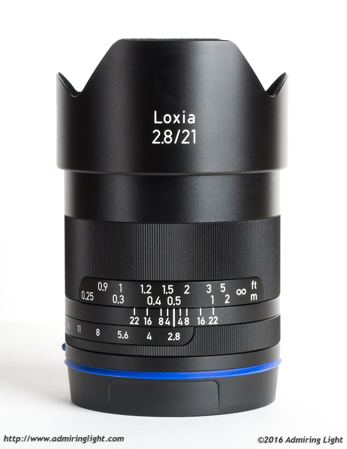 The Zeiss Loxia 21mm f/2.8 with its included hood