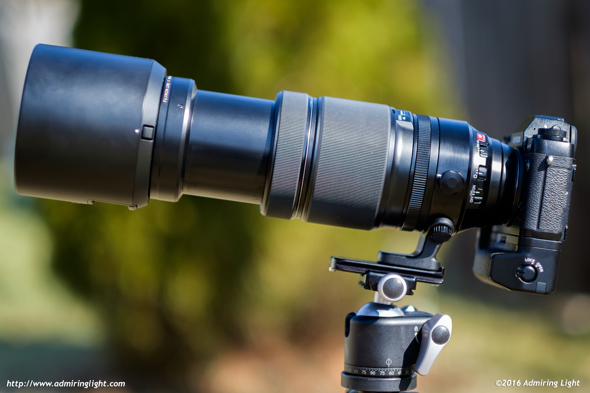 With the hood mounted and the lens set to 400mm, it's a considerable package