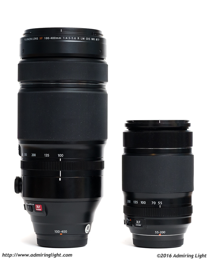 The XF 100-400mm is easily the largest lens for the Fuji X-Series. The XF 55-200mm f/3.5-4.8 is set for scale.