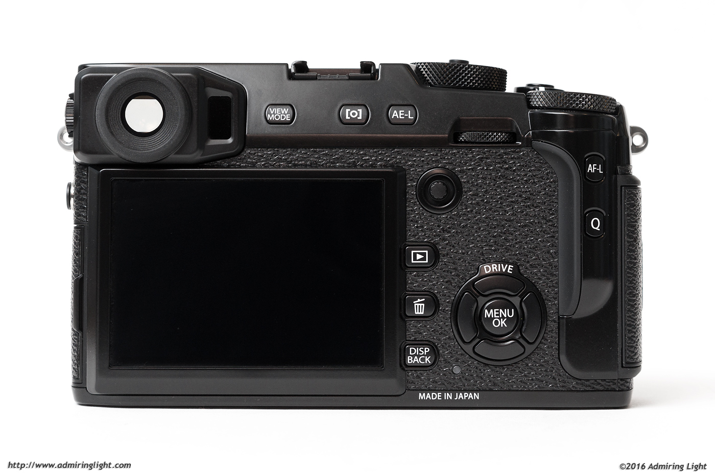 The rear controls of the X-Pro 2, including the new focus stick
