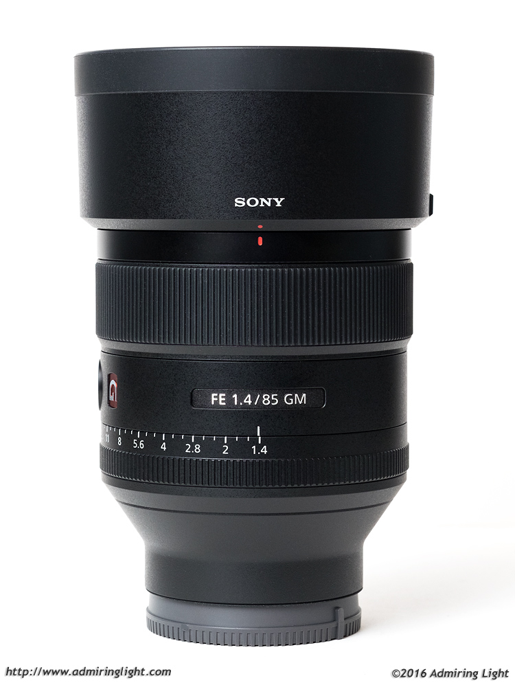 Sony 85mm f/1.4 GM with the included lens hood