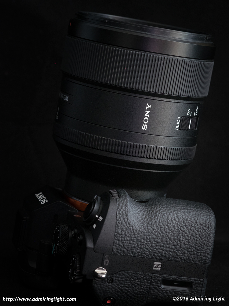 Sony 85mm f/1.4 GM - note the aperture declicking switch