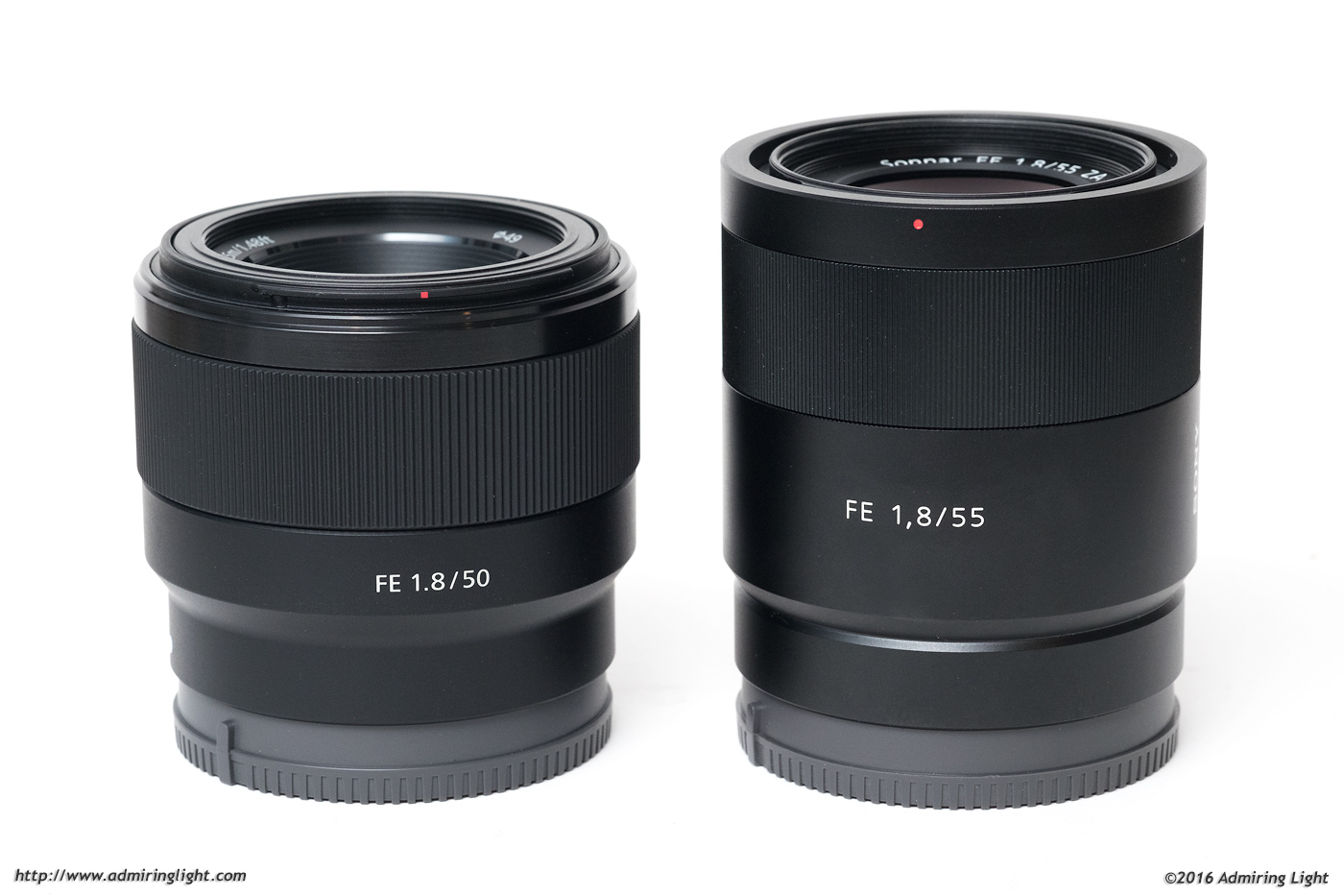 The FE 50mm f/1.8 next to the much more expensive FE 55mm f/1.8