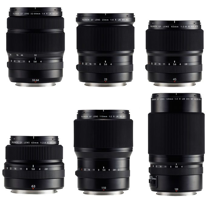 The six GF lenses