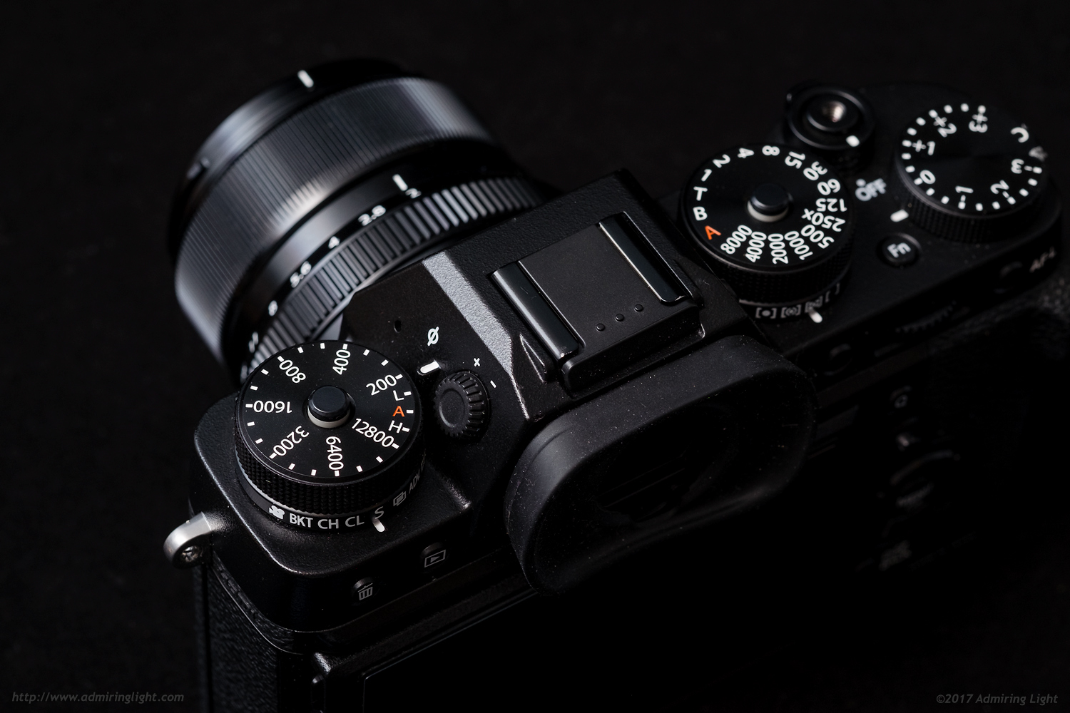 The top dials of the X-T2 allow for excellent direct control of settings.