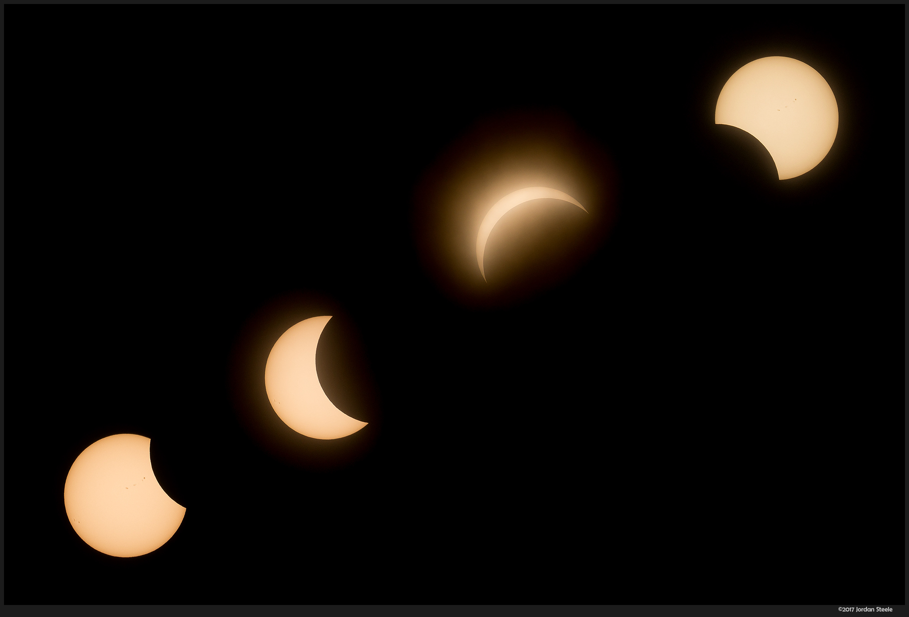 Solar Eclipse (4 shots) - Olympus OM-D E-M10 II with Olympus 75-300mm f/4.8-6.7 @ 300mm, f/