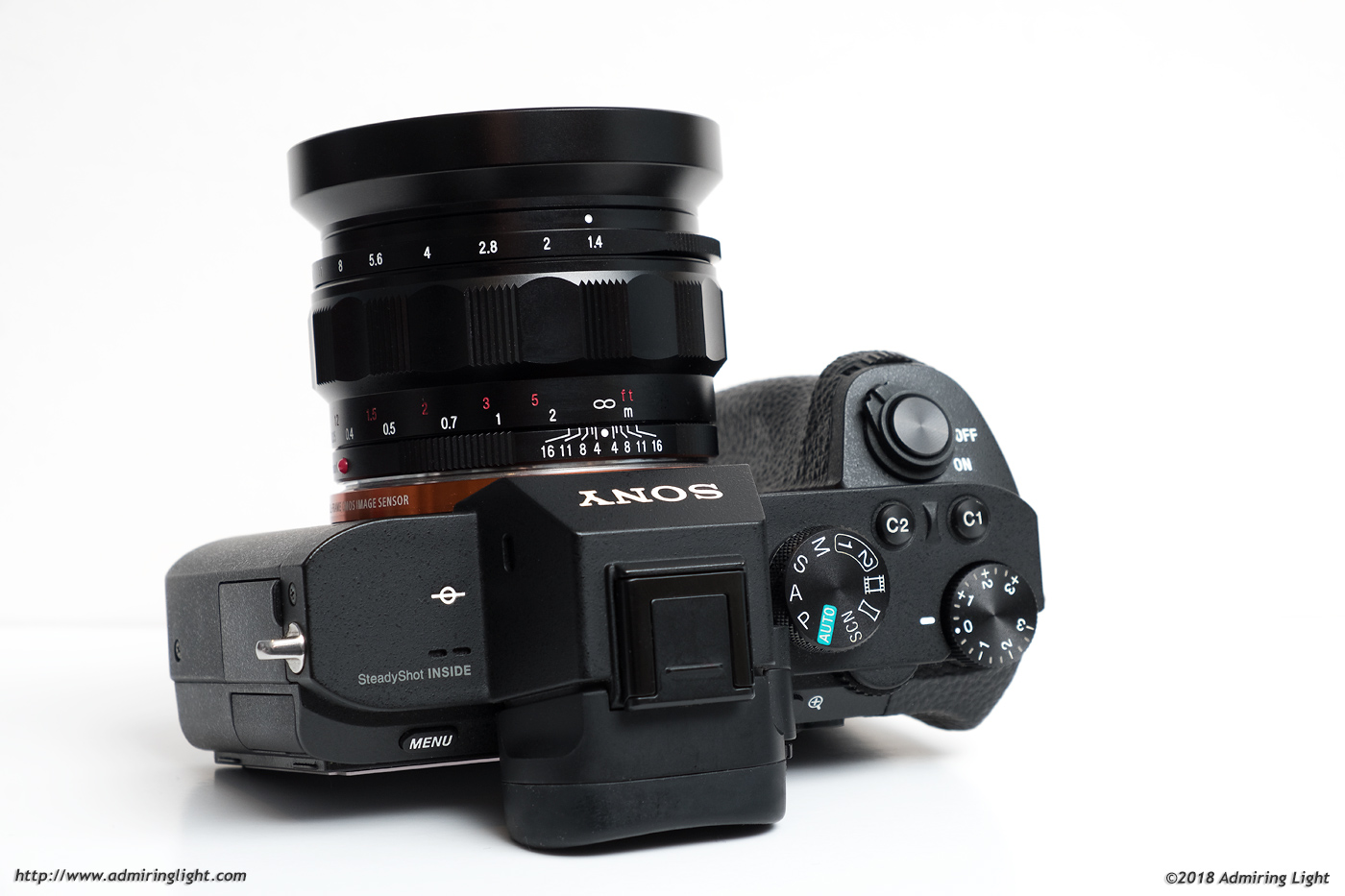 The Nokton 35mm f/1.4 has a screw-in type metal hood.