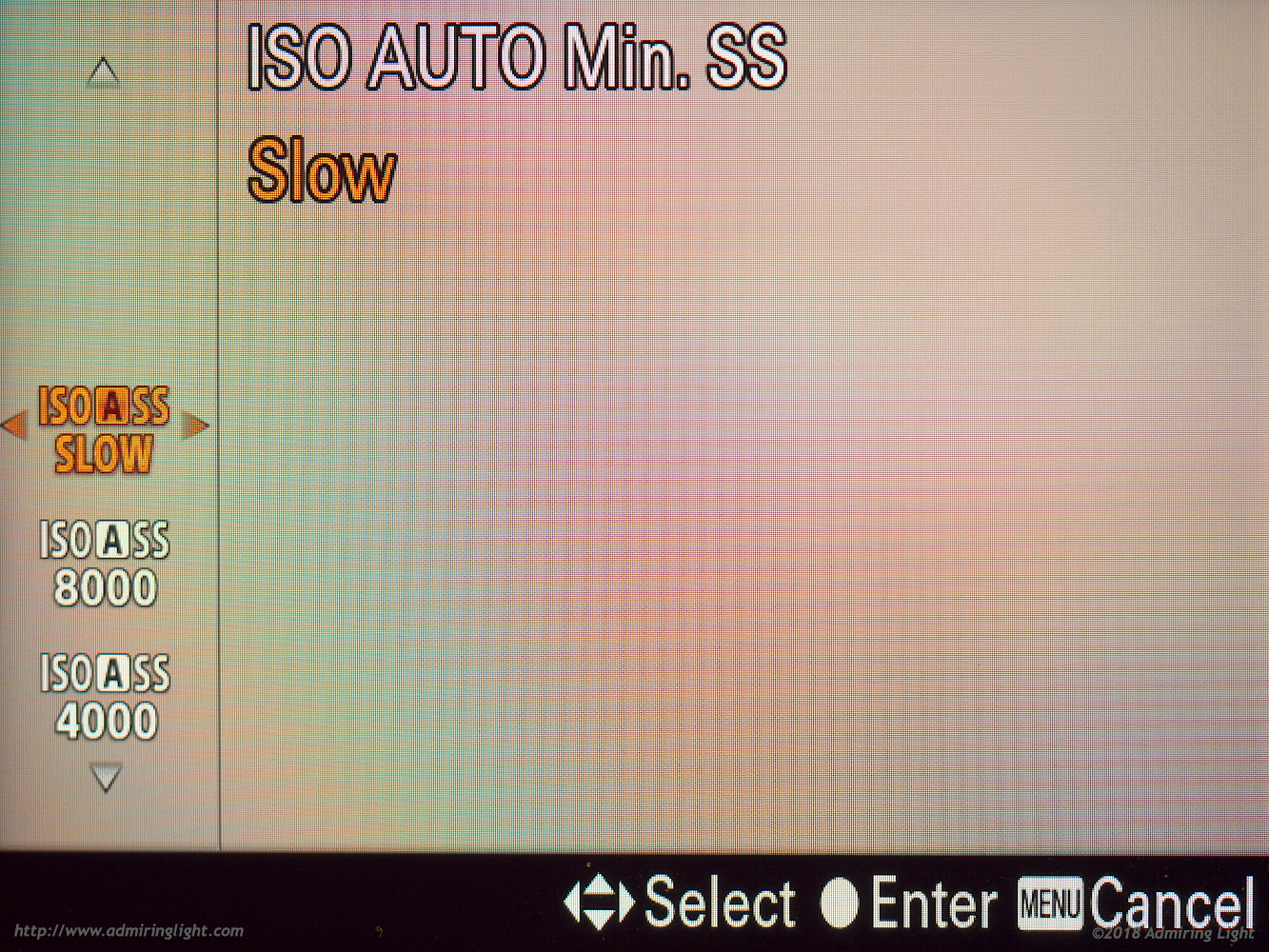 Auto ISO can be configured for slower or faster shutter speeds, or for direct selection of a minimum shutter speed