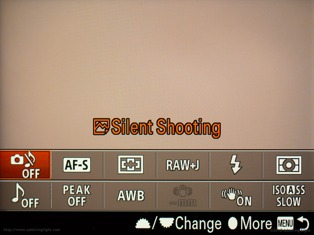 The Fn Menu, with Silent Shooting selected