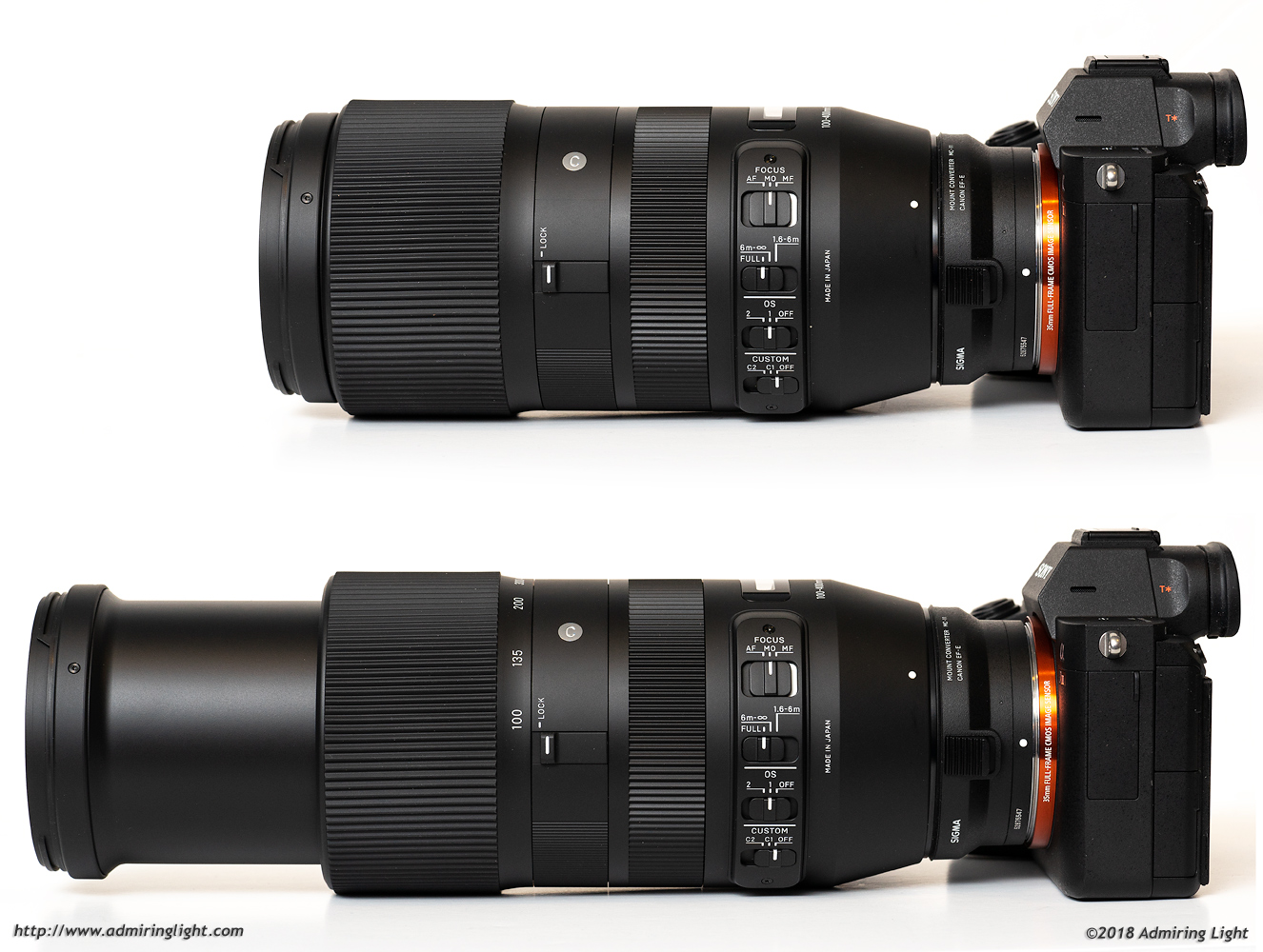 The Sigma 100-400mm at the extremes of its zoom range